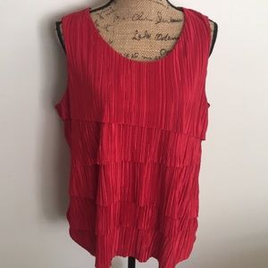 Chico's Red Top Party Holiday Satin Ruffle sz 3